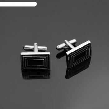 Запонки стальные, прямоугольники с эмалью, цвет черный в серебре
