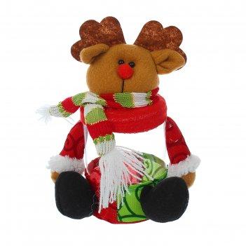 Конфетница новый год в шарфике, вместимость 150 грамм, виды микс