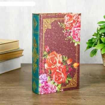 Сейф-книга дерево шёлк ретро. цветы. бабочки 21х13х5 см