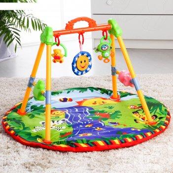Развивающий коврик с игровой стойкой «ручеек» с музыкальной игрушкой