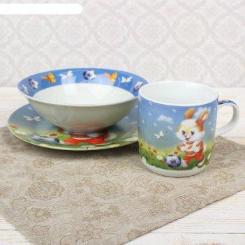 Набор детской посуды заяц футболист, 3 предмета: кружка, миска, тарелка