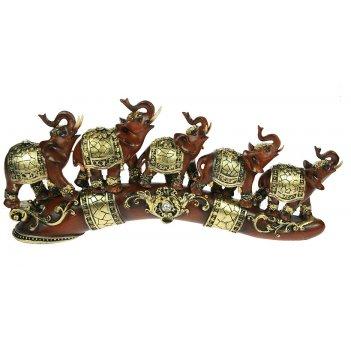 Фигурка декоративная пять слонов 39*6*17см