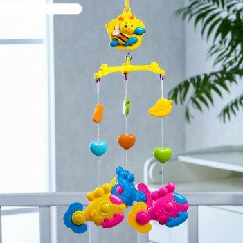 Мобиль музыкальный «пчелка. вертолетики», 3 игрушки, заводной, без кронште
