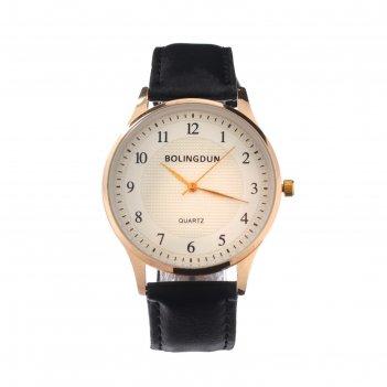 Часы наручные bolingdun 3451, d=4 см, экокожа, циферблат золото