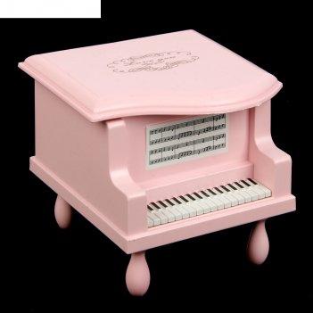 Шкатулка музыкальная механическая пианино розовая 8,5х9х9,5 см