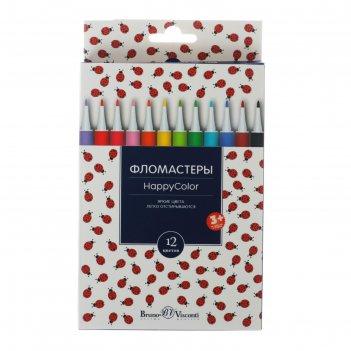 Фломастеры 12 цветов happycolor, микс
