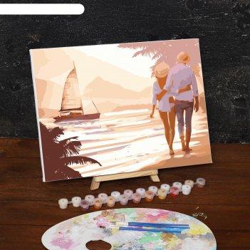 Картина по номерам на холсте прогулка по пляжу, 40*30 см