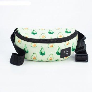 Сумка поясная, отдел на молнии, цвет зелёный, «авокадо»