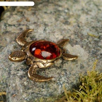 Сувенир из латуни и янтаря черепаха морская