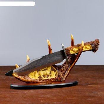 Сувенирное оружие нож на лосиных рогах