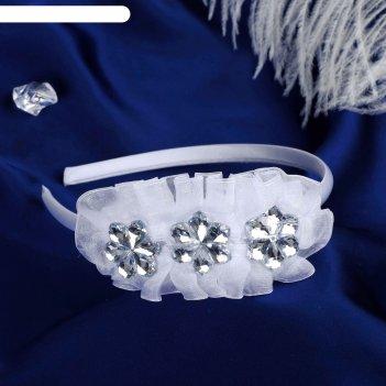 Ободок для волос выпускница 0,5 см, три цветочка, белый