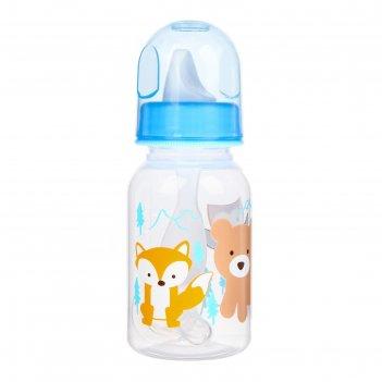 Бутылочка пластик, соска силикон, поильник твердый, ложка, 150 мл, цвета м