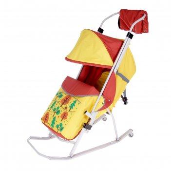 Санки-коляска зоопарк цвет: лимонный  мд-ск05