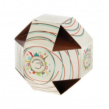 Подарочная коробка путешествуй 12,5 х 12,5 х 12,5 см