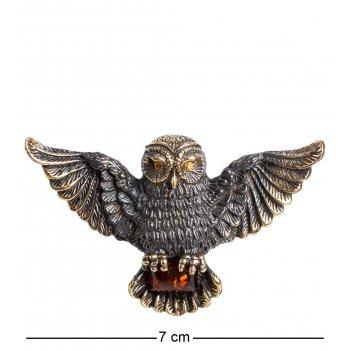 Am-1216 подвеска сова (латунь, янтарь)