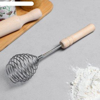 Венчик для взбивания с деревянной ручкой шар, 26 см