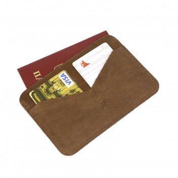 Обложка-футляр для паспорта, 2 кармана для карт, коричн.крэйзи хорс