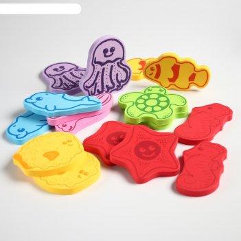 Набор игрушек для ванны «учим морских животных»: фигурки-стикеры из eva, 1