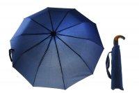 Зонт мужской полуавтомат, ручка-крючок комбинированная, цвет синий