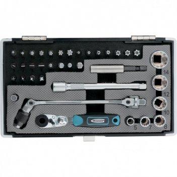 Набор бит и головок торцевых, 1/4, карданный ключ, трещотка, адаптер, s2,