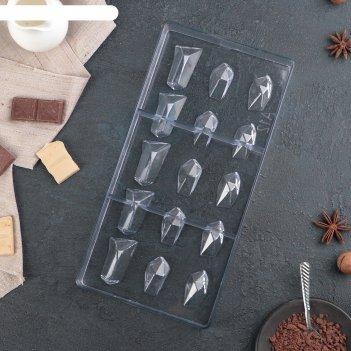 Форма для шоколада 15 ячеек драгоценные камни 33x16,2x2,6 см