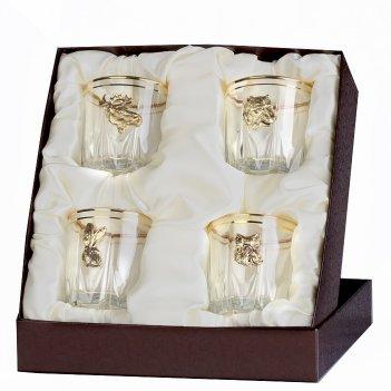 Набор бокалов для виски (4шт.) с накладкой звери (латунь)  в футляре пейсл