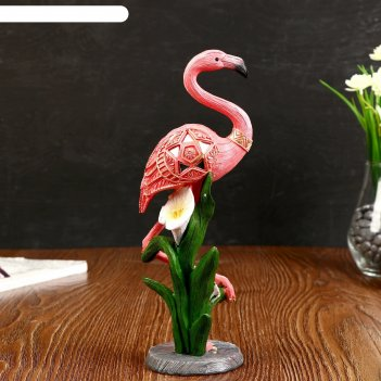 Сувенир полистоун розовый фламинго на одной ноге с каллой 26х9,5х7 см