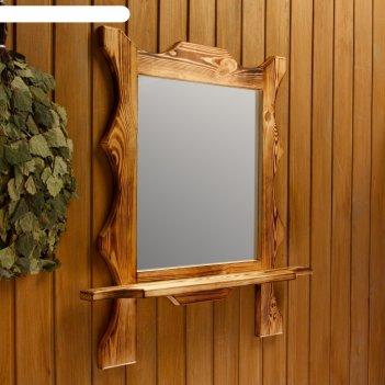 Зеркало резное квадрат с полкой, обожжённое, 53x53x15 см