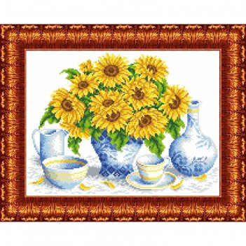 Канва с нанесенным рисунком для вышивки крестом подсолнухи в вазе