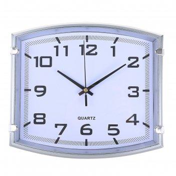 Часы настенные классика модерн, серебристые, прямоугольник, 25*3*22см
