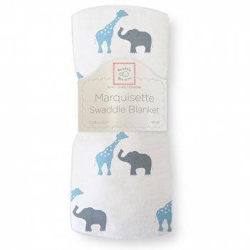 Пеленка детская тонкая swaddledesigns маркизет b giraffe/elephant