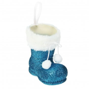 Конфетница сапожок с бомбошками, вместимость 150 грамм, цвет синий