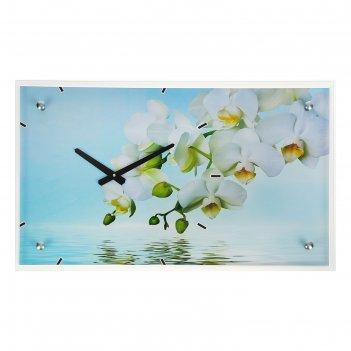 Часы настенные прямоугольные белые цветы у воды, 35х60 см