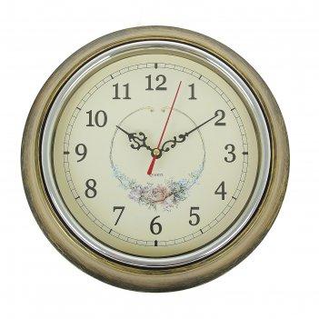 Часы настенные розочка. бронза