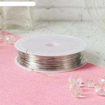 Проволока для бисероплетения диаметр 0,5 мм, длина 30 м, цвет серебрянный