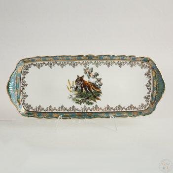 Поднос прямоугольный queens crown корона охота зеленая 40 см