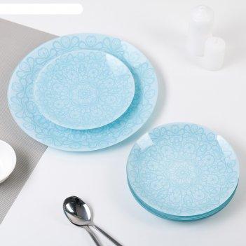 Сервиз столовый на 6 персон кружево: 6 тарелок 20 см, 1 тарелка 30 см