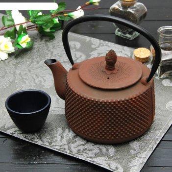 Чайник с ситом 800 мл земляничная поляна, цвет коричневый