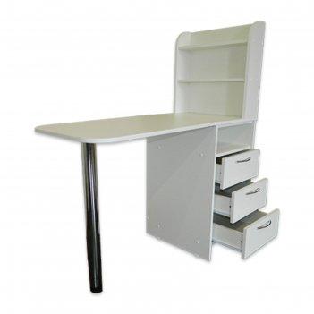 Стол для маникюра с тумбой и 3 полки 110*50*123, цвет белый