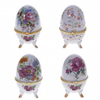 Шкатулка декоративная яйцо, l6 w6 h10 см, 4в.
