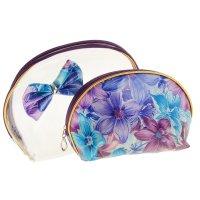 Набор косметичек 2в1 лилии, на молниях, цвет сине-сиреневый