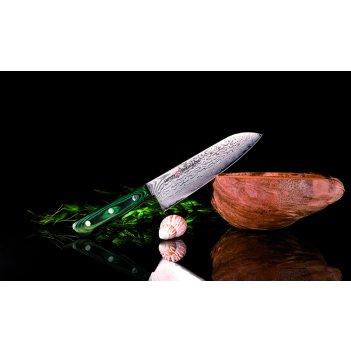 Нож кухонный японский шеф сантоку samura tamahagane st-0095 лезв 180 мм