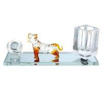 Набор настольный 2в1(карандашница, часы) звериный рык 25х7х10,5 см стекло
