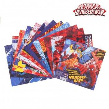 Набор бумаги для скрапбукинга супер герой человек паук,12 листов 14,5 х14.
