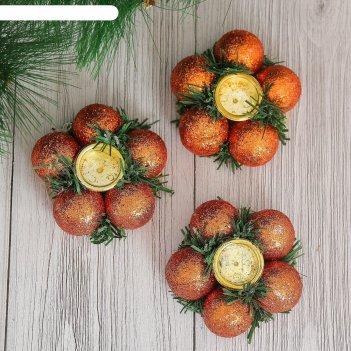 Подсвечник новогодний бронзовые шарики на одну свечу (набор 3 шт) d-7 см