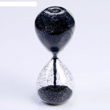 Часы песочные шанаду, сувенирные, 8х8х19 см, песок с черными блёстками