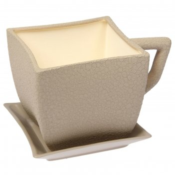 Кашпо-чашка квадрат шелк капучино 2,5 л