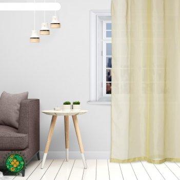 Тюль «этель» 145x270 см, цвет оливковый, вуаль, 100% п/э