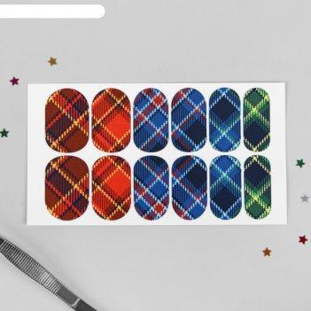 Слайдер-дизайн для ногтей шотландская клетка