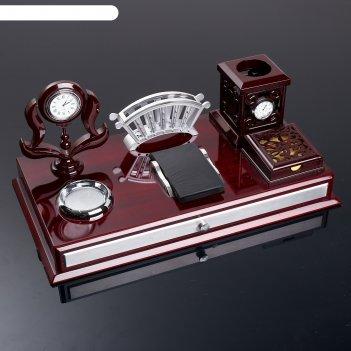 Набор настольный 6в1 (часы, визитница, калькулятор, подставка для печати,